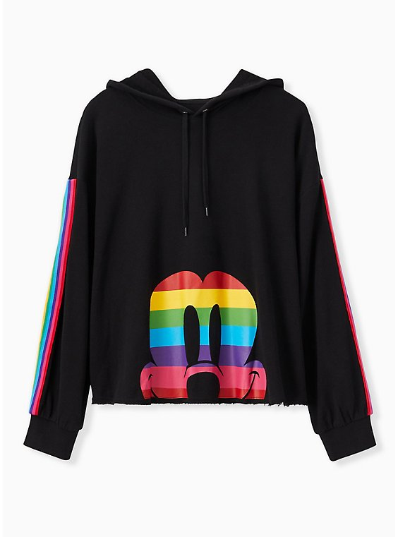 Plus Size Disney Mickey Mouse Rainbow Black Crop Hoodie, , hi-res