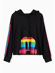 Plus Size Disney Mickey Mouse Rainbow Black Crop Hoodie, DEEP BLACK, hi-res