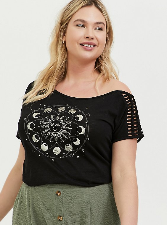 Black Moon & Sun Slub Jersey Cutout Off Shoulder Tee, , hi-res