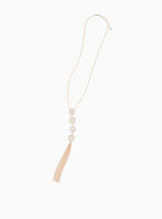 Rose Gold-Tone Faux Crystal Tassel Pendant Necklace, , hi-res