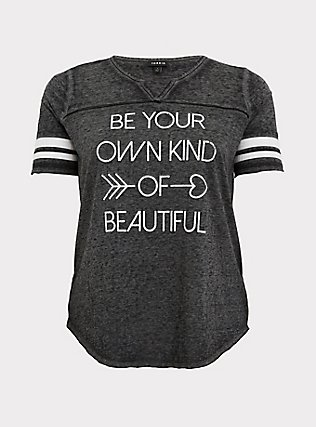 Own Kind Of Beautiful Burnout Black Football Tee, DEEP BLACK, flat