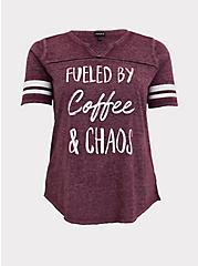 Coffee & Chaos Burgundy Purple V-Neck Football Tee, , hi-res