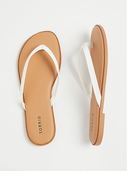 Plus Size White Faux Leather Flip Flop (WW), WHITE, hi-res
