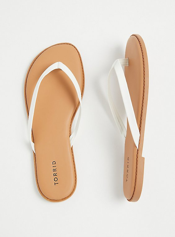 Plus Size White Faux Leather Flip Flop (WW), , hi-res