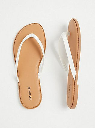 White Faux Leather Flip Flop (WW), WHITE, hi-res