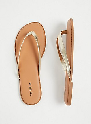 Gold Faux Leather Flip Flop (WW), GOLD, alternate