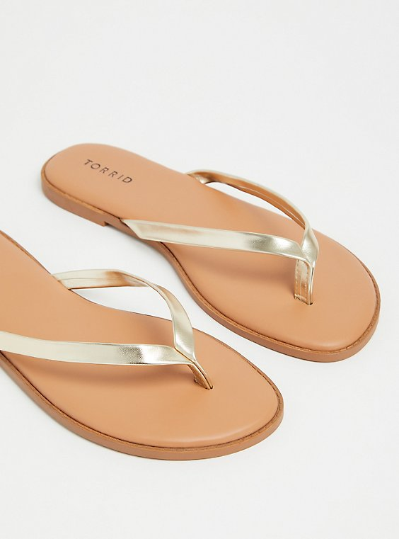 Plus Size Gold Faux Leather Flip Flop (WW), , hi-res