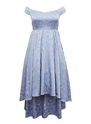 Disney Cinderella Blue Off Shoulder Satin Hi-Low Dress, EVENTIDE, flat