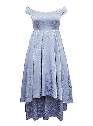 Plus Size Disney Cinderella Periwinkle Blue Off Shoulder Satin Hi-Low Dress, EVENTIDE, flat