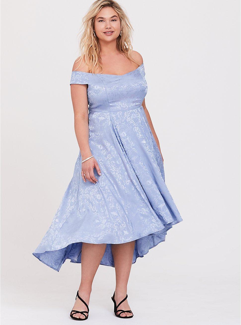 Plus Size Disney Cinderella Blue Off Shoulder Satin Hi-Low Dress, EVENTIDE, hi-res