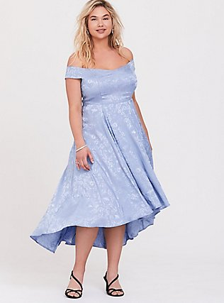 Disney Cinderella Blue Off Shoulder Satin Hi-Low Dress, EVENTIDE, hi-res