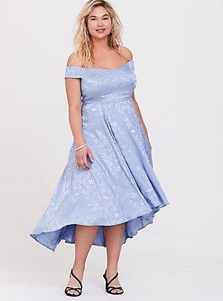 Plus Size Disney Cinderella Periwinkle Blue Off Shoulder Satin Hi-Low Dress, EVENTIDE, hi-res
