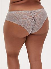 Pebble Grey Floral Microfiber & Lace Back Hipster Panty, GARDEN BLOOMS FLORAL GRAY, alternate