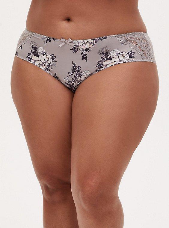 Pebble Grey Floral Microfiber & Lace Back Hipster Panty, GARDEN BLOOMS FLORAL GRAY, hi-res