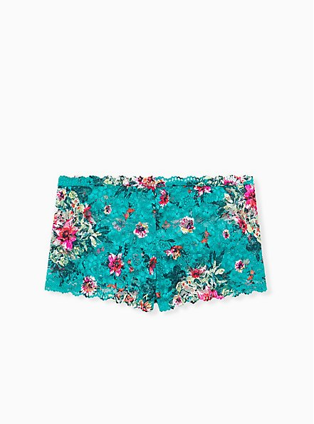 Turquoise Floral Lace Cheeky Panty , 2TONE, alternate