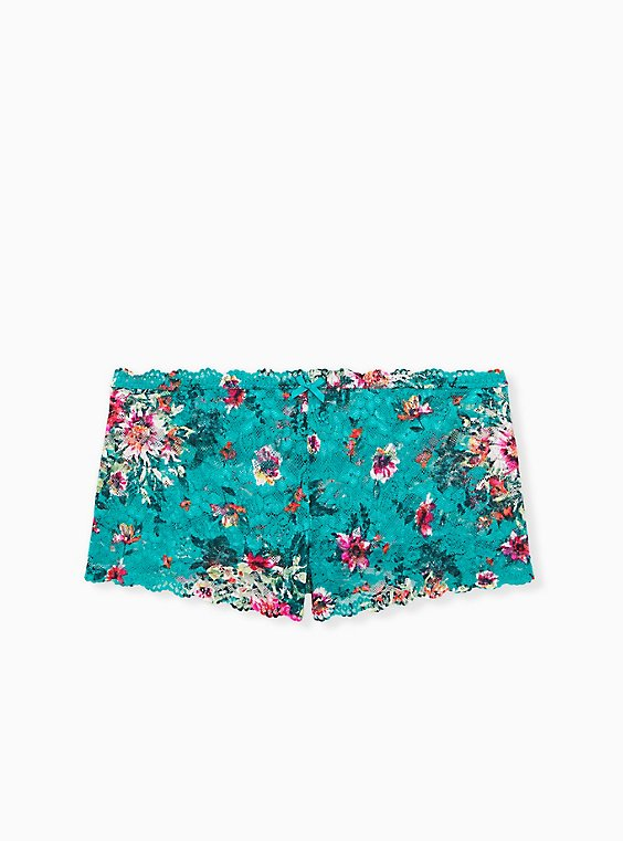 Turquoise Floral Lace Cheeky Panty , , hi-res