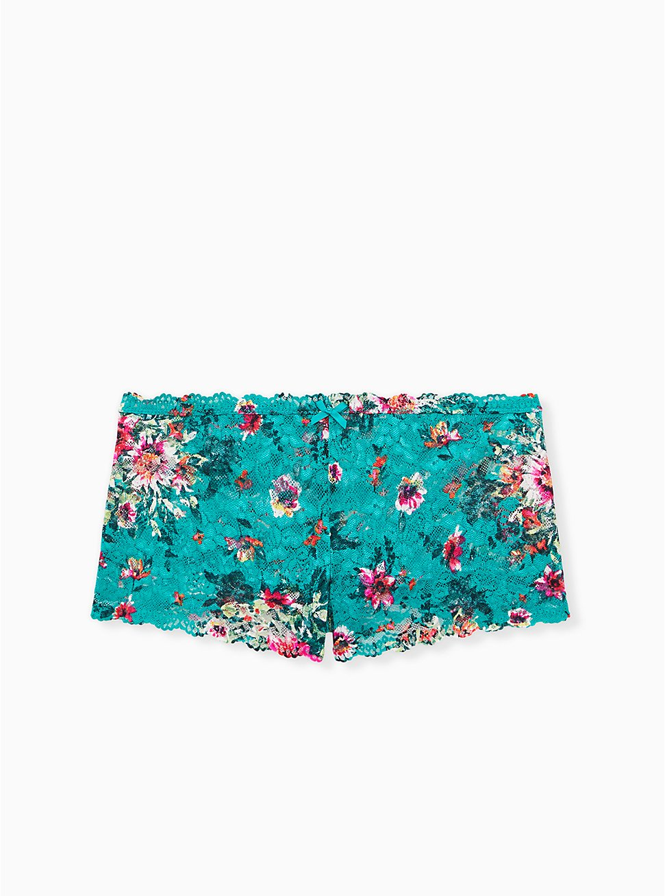 Turquoise Floral Lace Cheeky Panty , 2TONE, hi-res