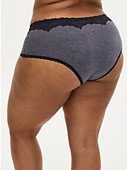 Heather Navy Microfiber Cheeky Panty , NIGHT SKY HEATHER NAVY, alternate