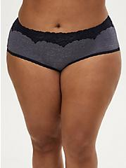 Heather Navy Microfiber Cheeky Panty , NIGHT SKY HEATHER NAVY, hi-res