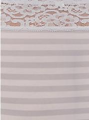 Light Grey Stripe Wide Lace Shine Brief Panty, GARDEN BLOOMS FLORAL GRAY, alternate