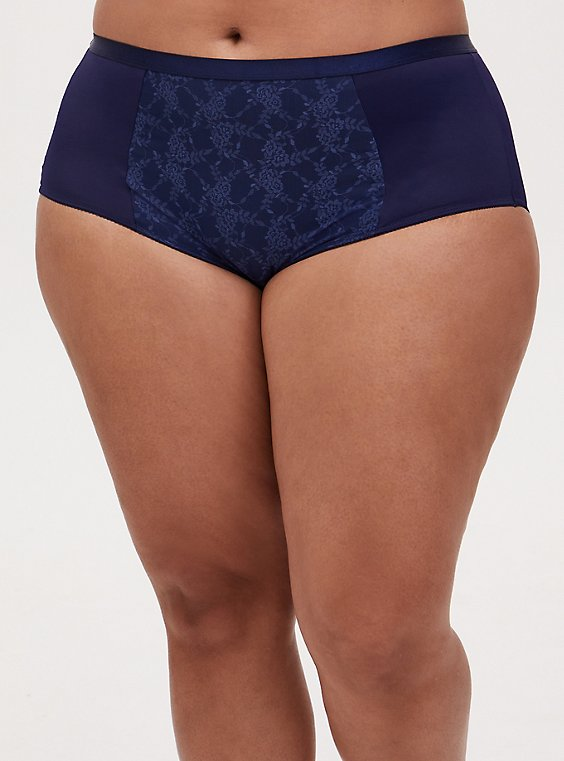 Navy Microfiber 360° Smoothing™ Brief Panty, PEACOAT, hi-res