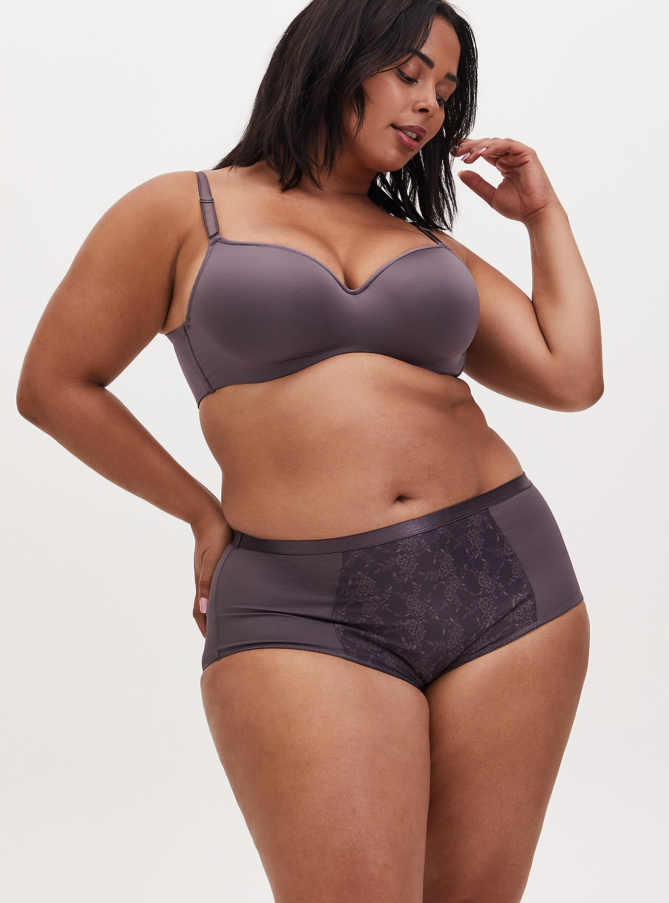 Slate Grey 360° Back Smoothing™ Lightly Lined Full Coverage Balconette Bra and Brief Panty, , hi-res