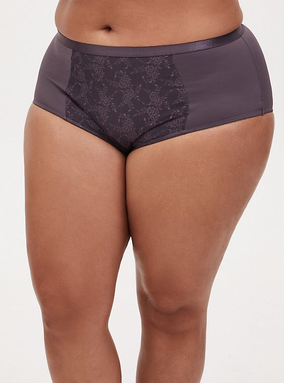 Plus Size Slate Grey Microfiber 360° Smoothing™ Brief Panty, , hi-res
