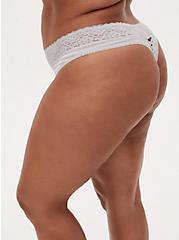 Light Grey Stripe Second Skin Thong Panty, BASIC STRIPE WHITE, alternate