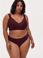 Burgundy Purple Microfiber & Lace Thong Panty , WINETASTING, alternate