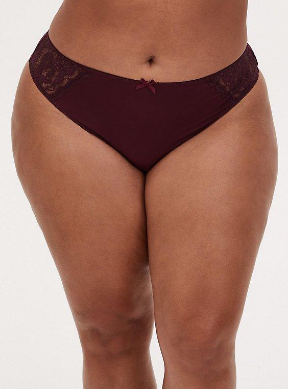 Burgundy Purple Microfiber & Lace Thong Panty , WINETASTING, hi-res