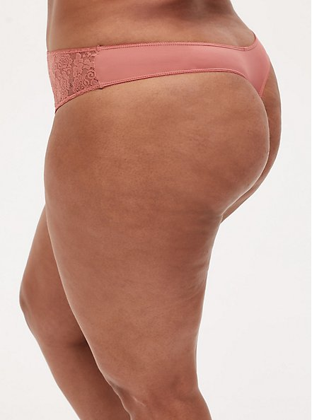 Dusty Coral Microfiber Lace Inset Thong Panty , DESERT SAND, alternate