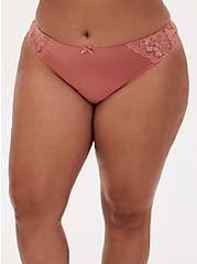 Dusty Coral Microfiber Lace Inset Thong Panty , DESERT SAND, hi-res