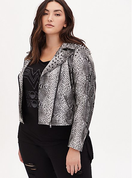 Wonder Woman 84 Faux Leather Grey Snakeskin Print Crop Jacket, SNAKE - GREY, alternate