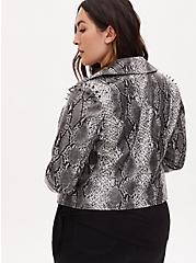 Plus Size Wonder Woman 84 Faux Leather Grey Snakeskin Print Crop Jacket, SNAKE - GREY, alternate