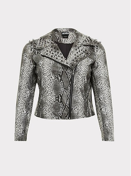 Wonder Woman 84 Faux Leather Grey Snakeskin Print Crop Jacket, SNAKE - GREY, hi-res