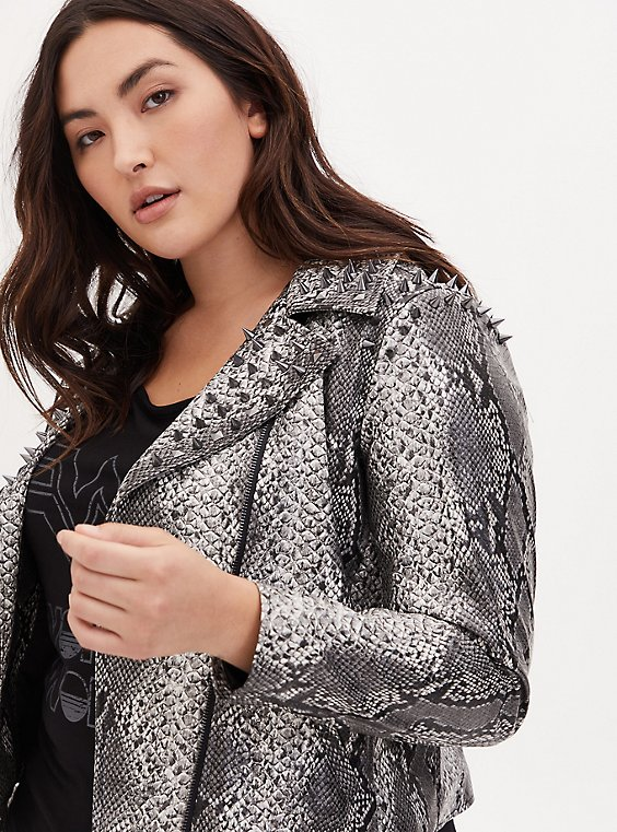 Wonder Woman 84 Faux Leather Grey Snakeskin Print Crop Jacket, , hi-res