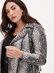 Plus Size Wonder Woman 84 Faux Leather Grey Snakeskin Print Crop Jacket, SNAKE - GREY, hi-res