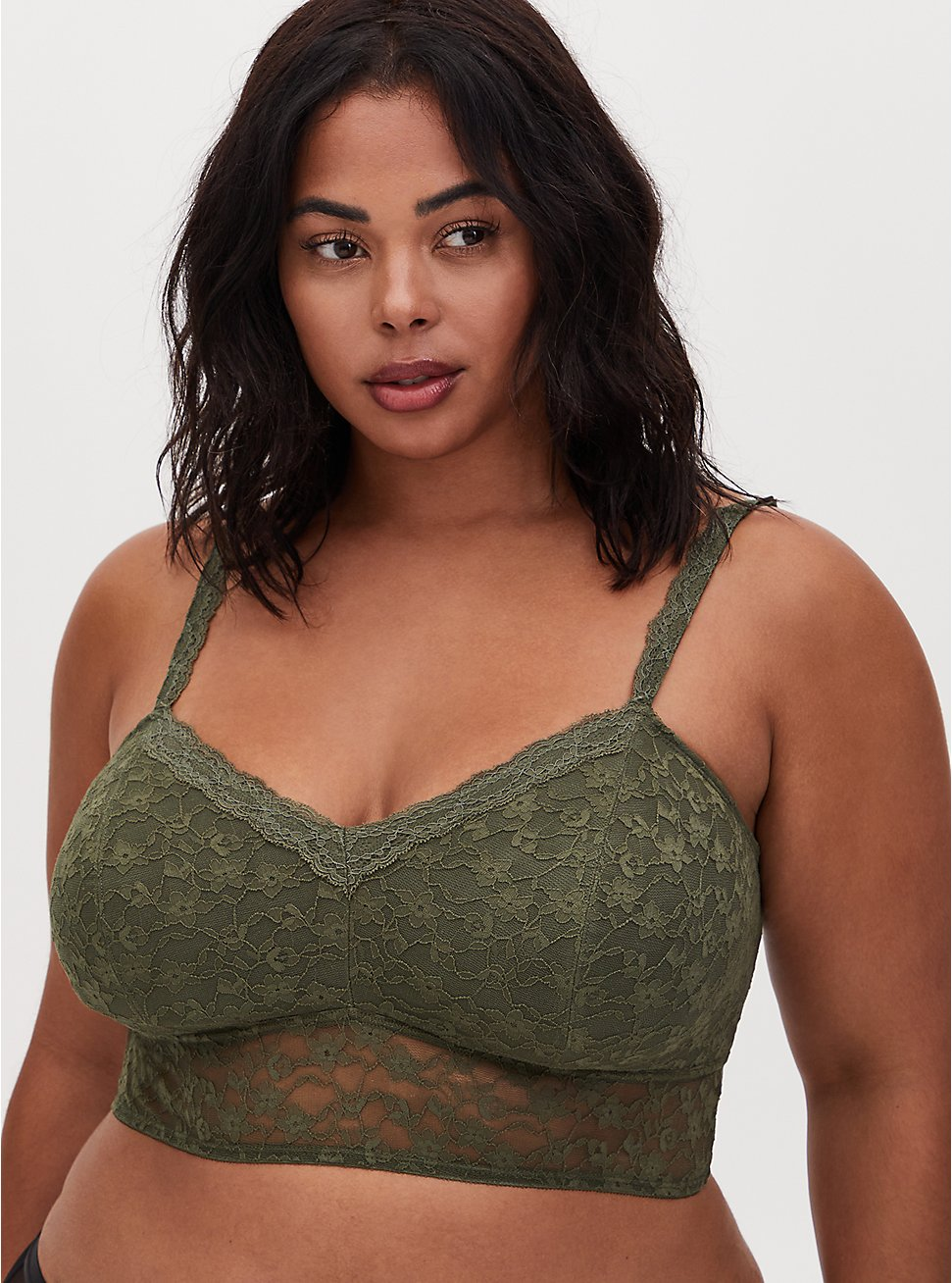 Light Olive Green Lace Lightly Padded Bralette, OLIVE, hi-res