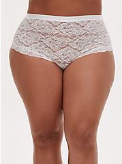 Plus Size White Lace High Waist Panty , CLOUD DANCER, hi-res