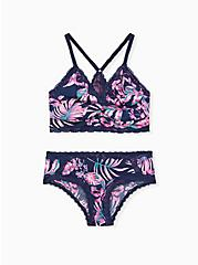 Navy Tropical Print Microfiber Unlined Racerback Bralette, ISLAND FLORAL NAVY, alternate