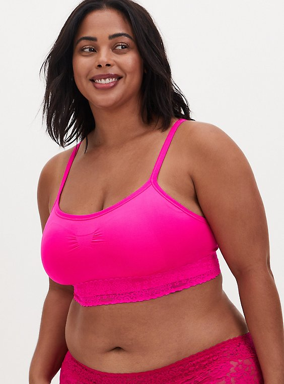 Plus Size Neon Pink Seamless Lightly Padded Bralette, , hi-res