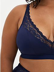 Navy Microfiber & Lace Lightly Padded Bralette, PEACOAT, alternate