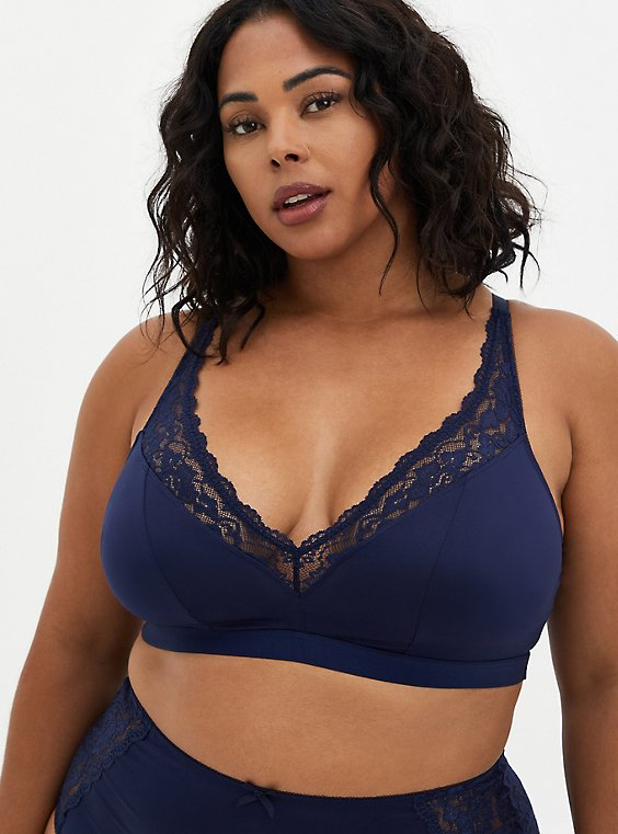 Navy Microfiber & Lace Lightly Padded Bralette, PEACOAT, hi-res