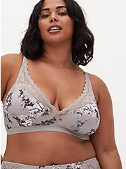 Pebble Grey Floral Microfiber & Lace Lightly Padded Bralette, GARDEN BLOOMS FLORAL GRAY, alternate