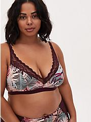 Multi Tropical Leaf Microfiber & Burgundy Purple Lace Lightly Padded Bralette, WINETASTING, alternate