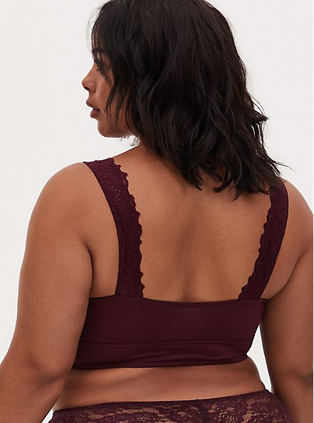 Burgundy Purple Microfiber & Lace Bralette, WINETASTING, alternate