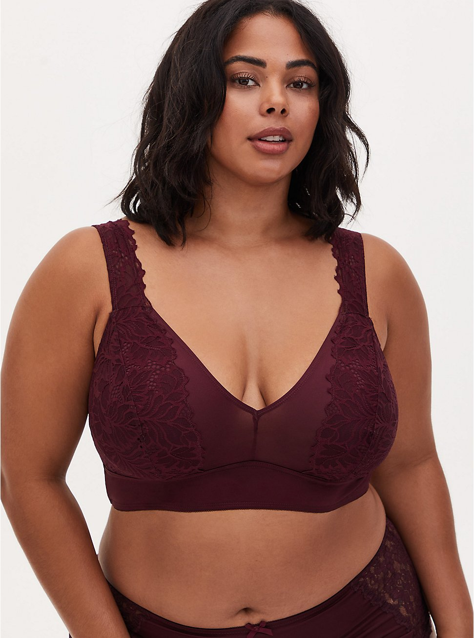 Burgundy Purple Microfiber & Lace Bralette, WINETASTING, hi-res