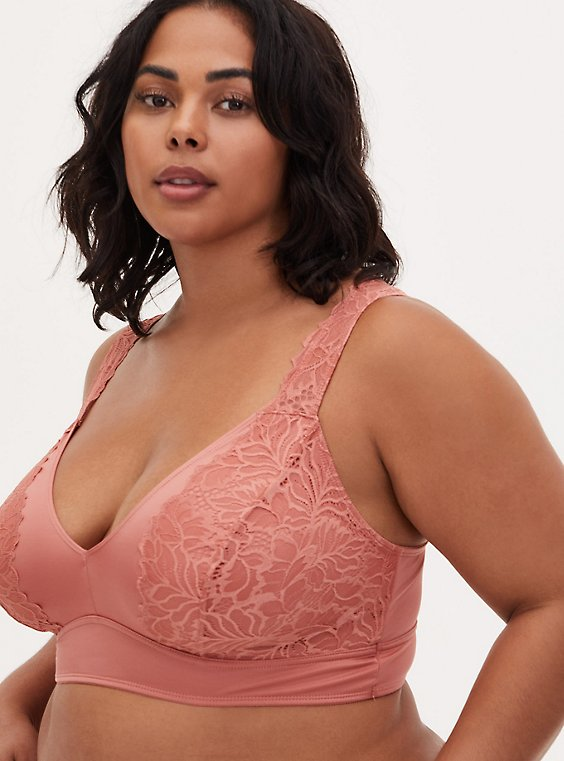 Dusty Coral Microfiber & Lace Unlined Bralette, , hi-res