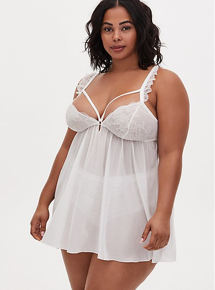 White Lace & Mesh Strappy Wireless Babydoll, CLOUD DANCER, hi-res