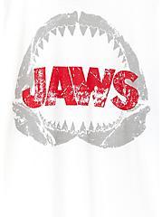 Jaws White & Navy Jersey Raglan Top, BRIGHT WHITE, alternate